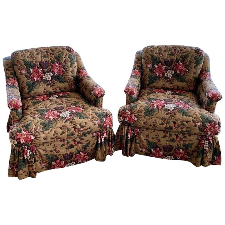 Pair of Upholstered Bedroom Armchairs  For Sale