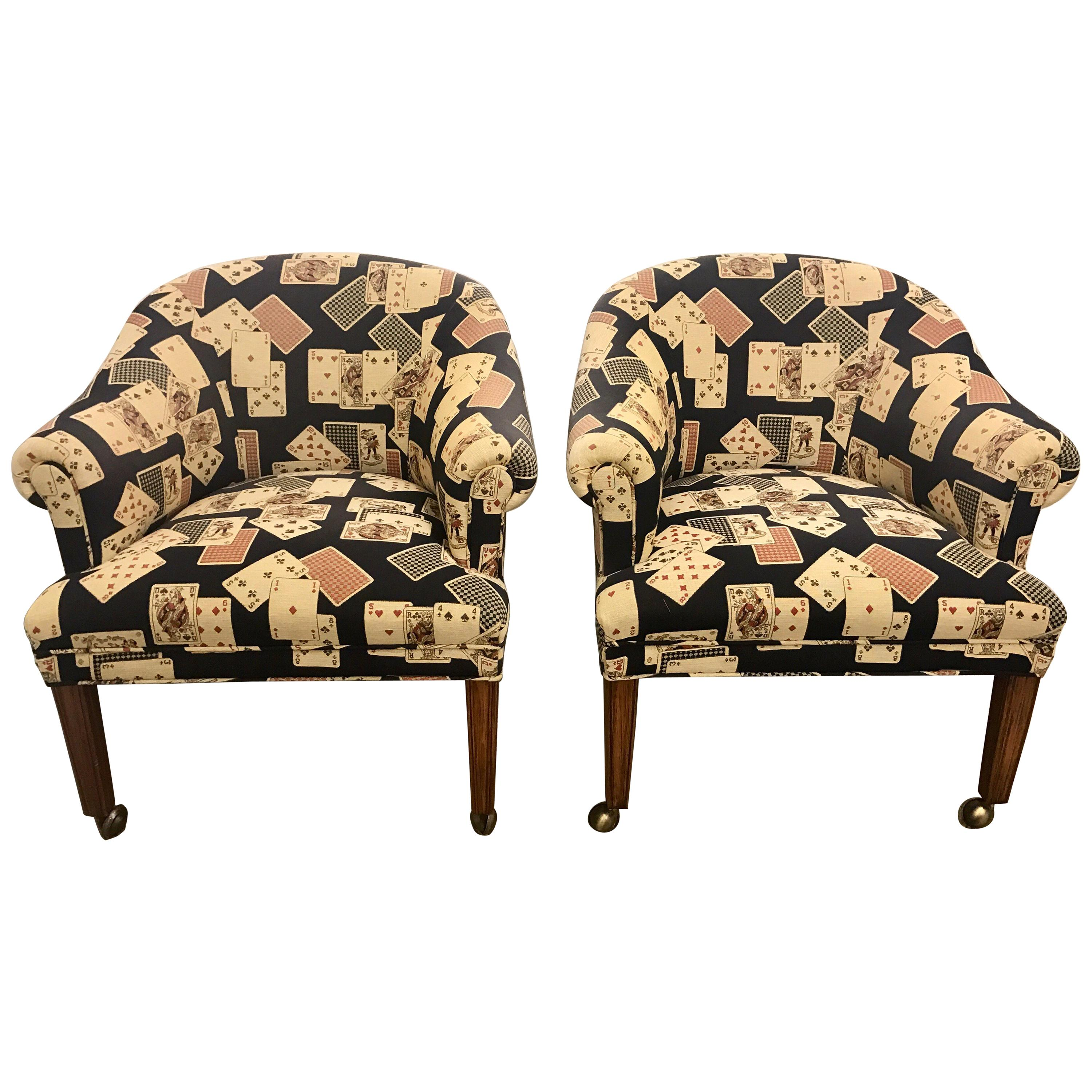 Pair of Upholstered Card Game Chairs on Castors
