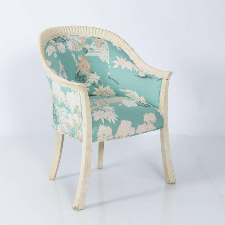 Pair of Upholstered Chinoiserie Armchairs For Sale at 1stdibs