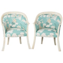 Pair of Upholstered Chinoiserie Armchairs
