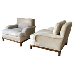 Pair Upholstered Club Chairs Attributed to Robsjohn - Gibbing, England, 1940s