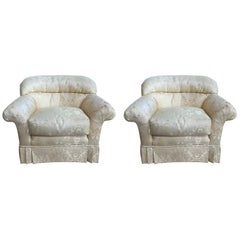 Pair of Upholstered Club Chairs in a Yellow Damask Fabric, 20th Century