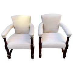 Pair of Upholstered Vintage Belgian Linen Club Chairs, Scotland, 19th Century