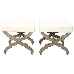 Pair of Upholstered Curule Benches