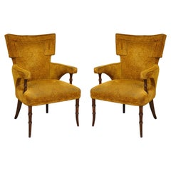 Pair of Upholstered Faux-Bamboo Fireside Armchairs