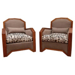 Pair of Upholstered French Art Deco Armchairs, 1930s