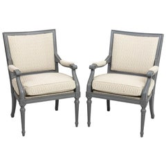 Pair of Upholstered French Directoire Style Armchairs