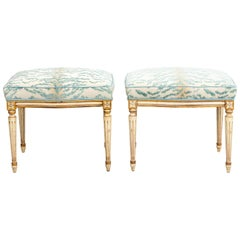 Pair of Upholstered French Ottomans