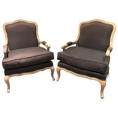 Pair of Upholstered French Style Oak Bergère Chairs