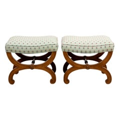 Pair of Upholstered French Yew Wood Curule Benches