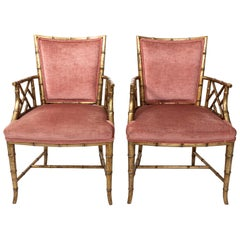 Pair of Upholstered Gilt Faux Bamboo Armchairs