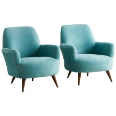 Pair of Upholstered Italian Chairs in Blue