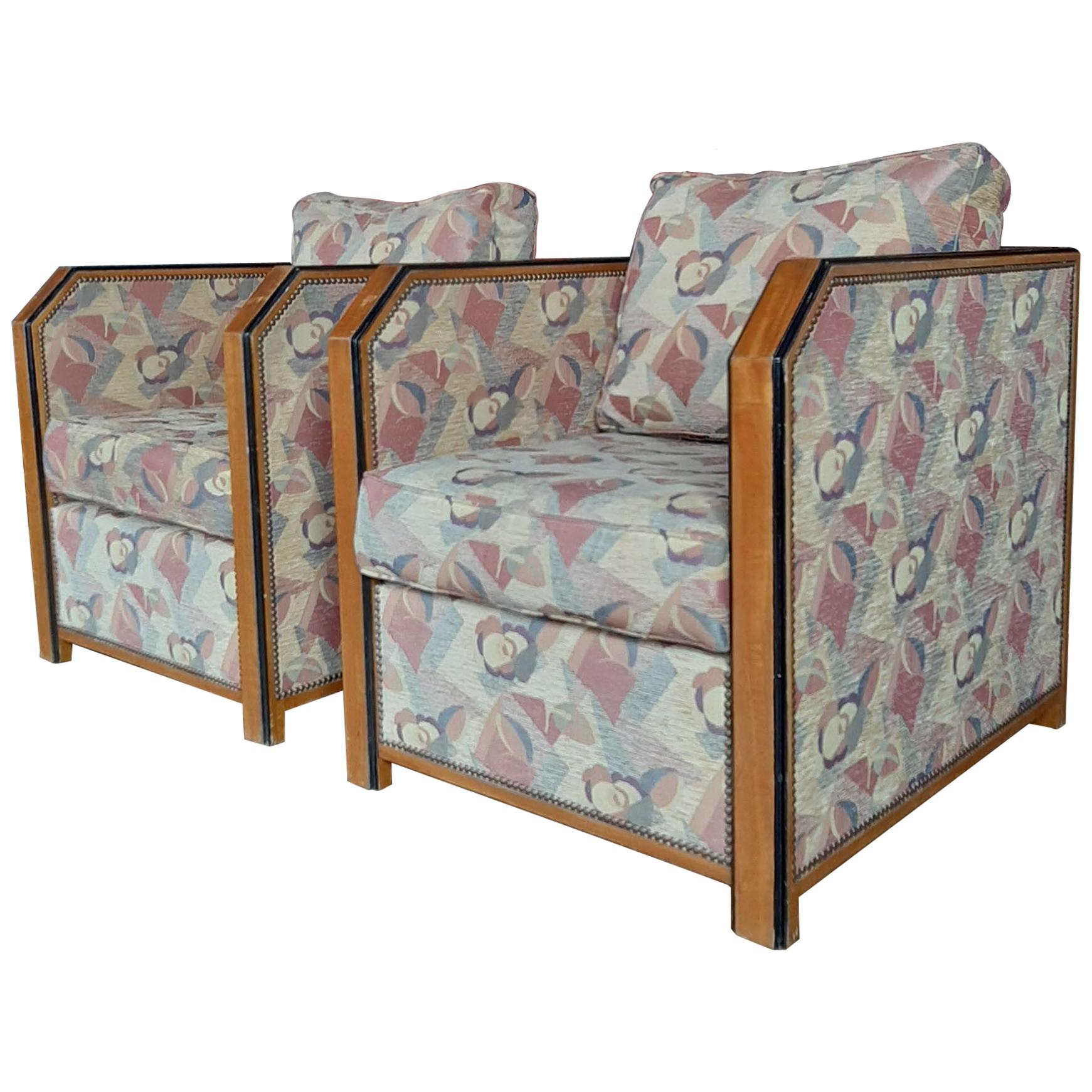 Pair of Upholstered Large French Art Deco Club Chairs 1930s