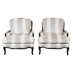 Pair of Upholstered Louis XV Oversized Bergère Armchairs