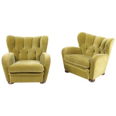 Pair of Upholstered Lounge Chairs, 1940s