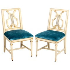 Pair of Upholstered Lyre Back Side Chairs