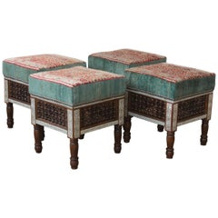 Pair of Upholstered Moorish Stools. One Pair Available.