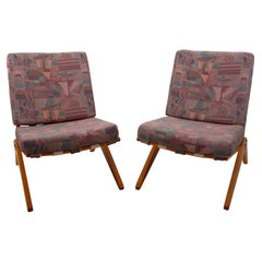 Pair of Upholstered Scissor Chairs by Pierre Jeanneret