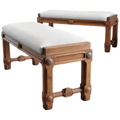 Pair of Upholstered Solid Walnut Ocean Liner Benches, English Early 20th Century