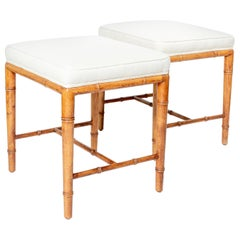 Pair of Upholstered Square Stools with Stylized Bamboo Wood Bases