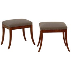 Pair of Upholstered Stools in the Biedermeier Style from England