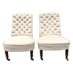 Pair Of Upholstered Swedish Oskarian Slipper Chairs, From The Victorian Period