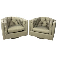 Pair of Upholstered Swivel Armchairs