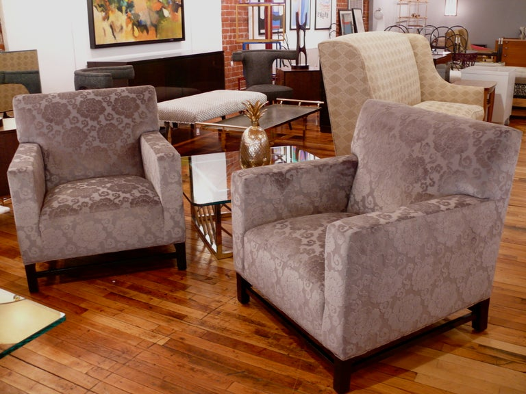 Pair of Upholstered Velvet Club Chairs For Sale 3