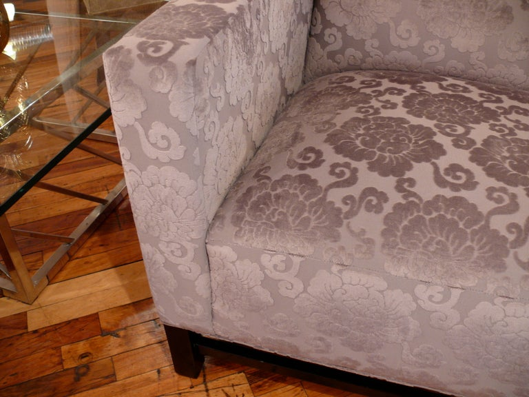 Pair of Upholstered Velvet Club Chairs In Good Condition For Sale In New York, NY