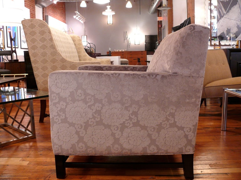 Pair of Upholstered Velvet Club Chairs For Sale 1