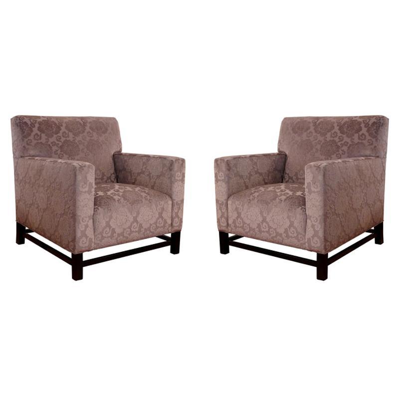 Pair of Upholstered Velvet Club Chairs