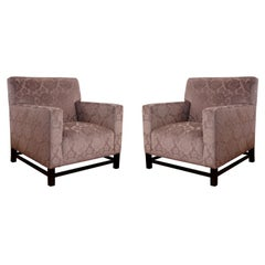 Pair of Upholstered Velvet Club Chairs
