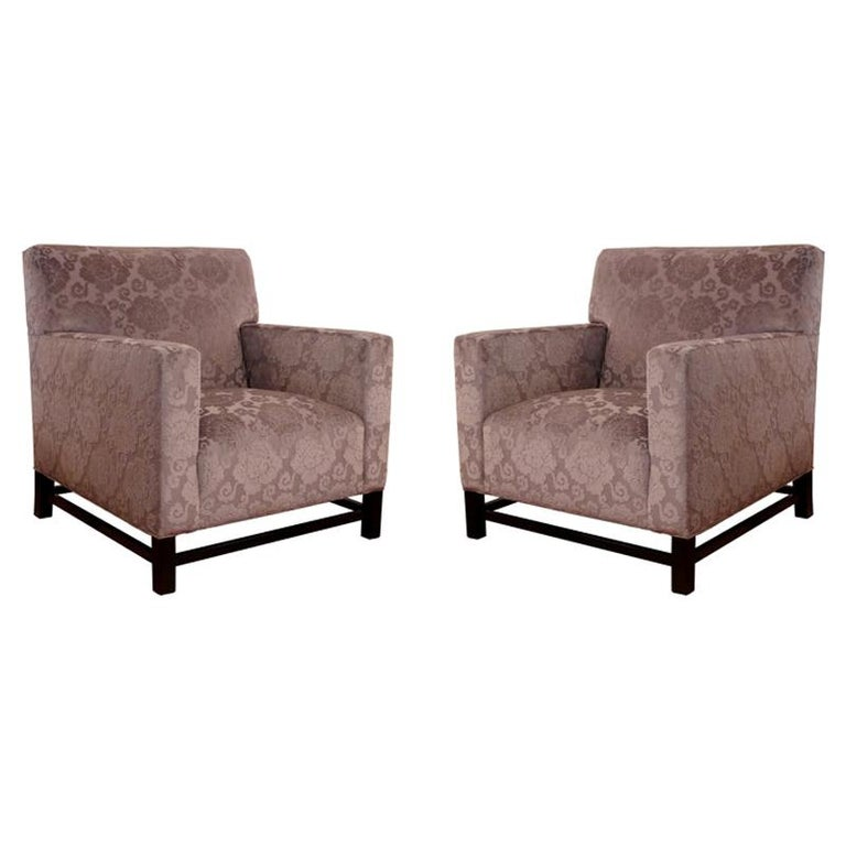 Pair of Upholstered Velvet Club Chairs For Sale