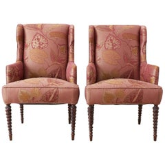 Pair of Upholstered Wingback Chairs with Barley Twist Legs