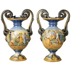 Pair of Urbino Style Majolica Vases, Early 20th Century