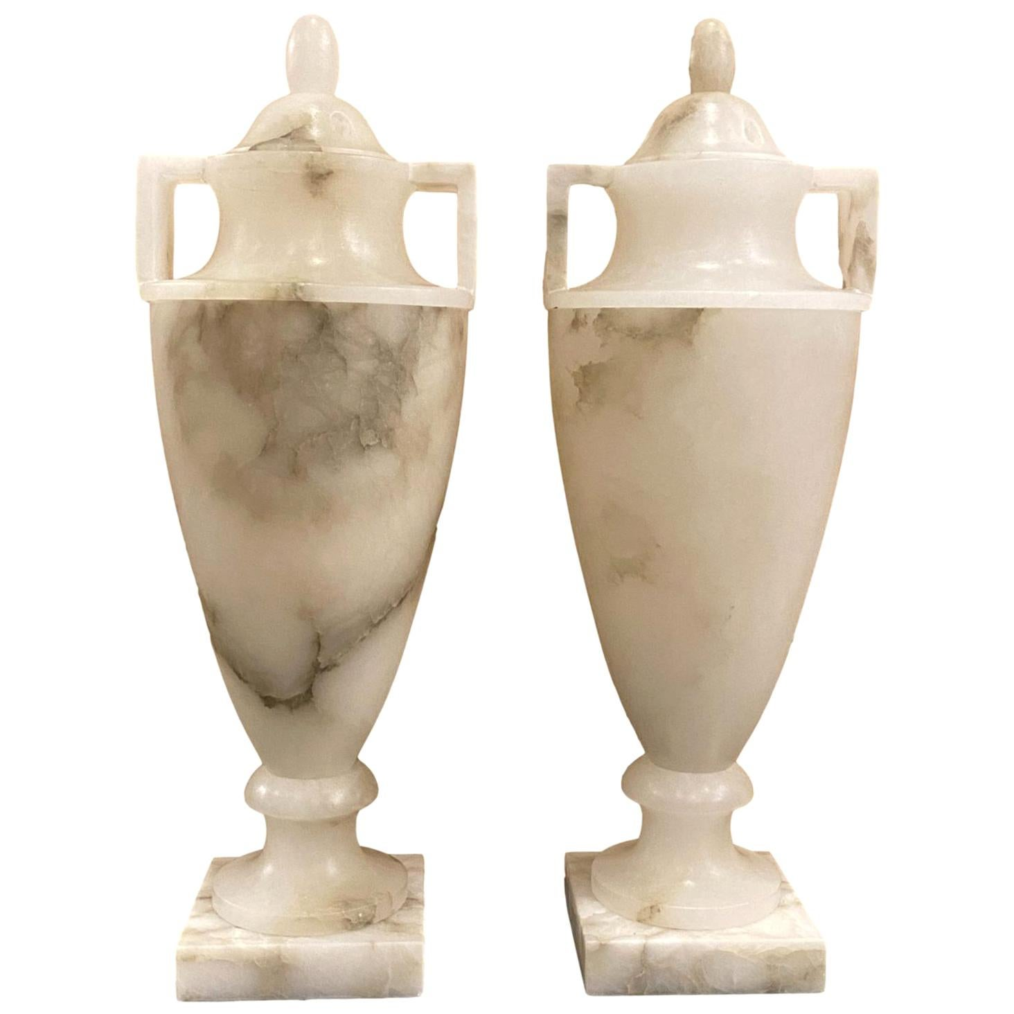 Pair of Urn Alabaster Table Lamps