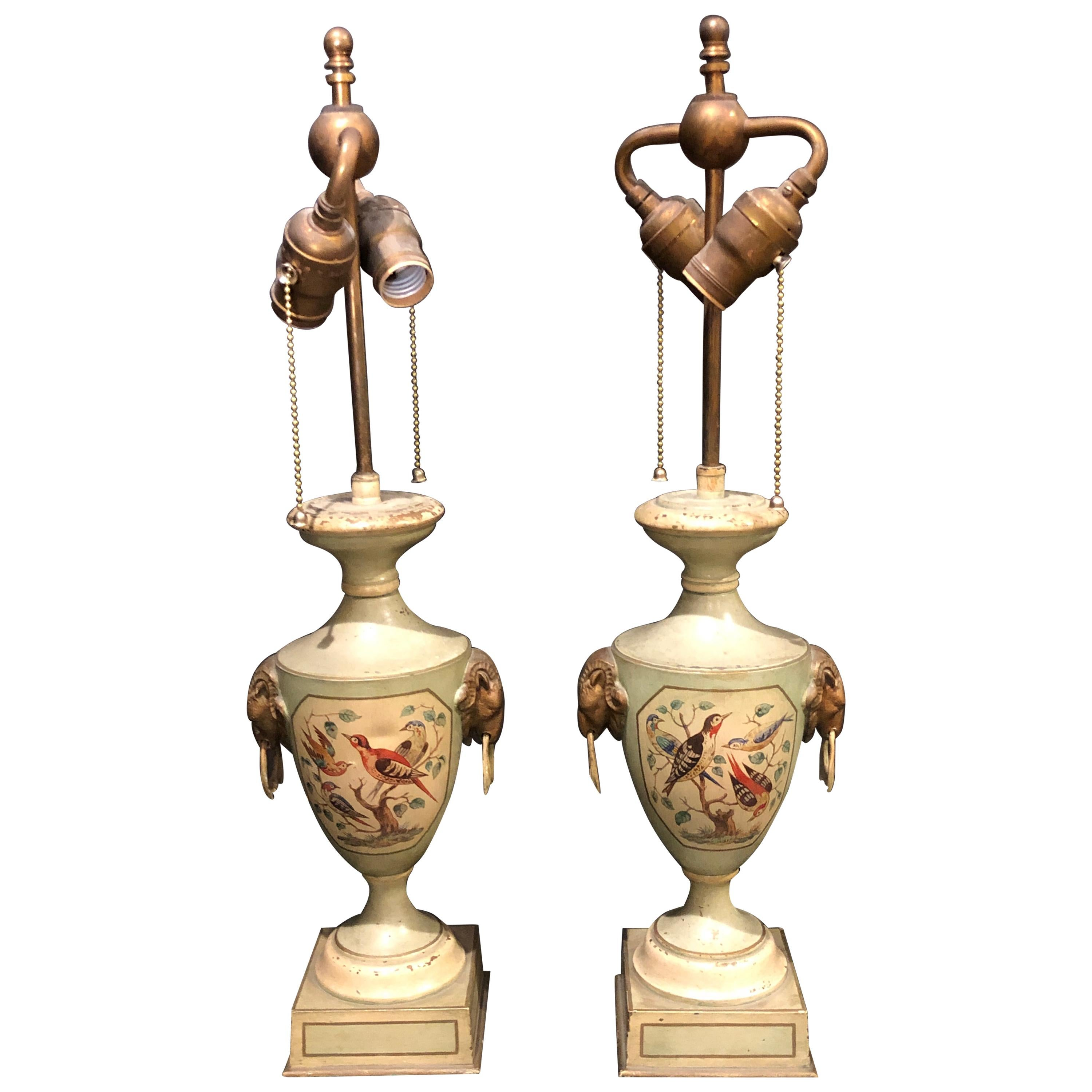 Pair of Urn Form Painted Tole Lamps