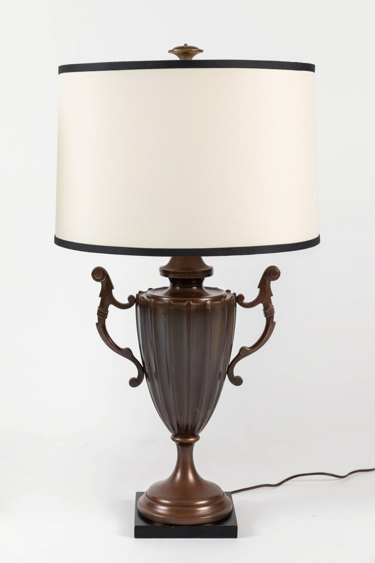 Patinated Pair of Urn Form Table Lamps by Chapman For Sale