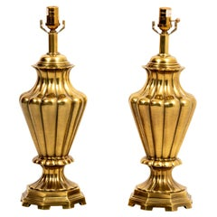 Pair of Urn Shaped Brass Table Lamps