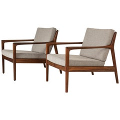 "Pair of ""USA 75"" Teak Lounge Chairs by Folke Ohlsson for DUX, Sweden, 1960s"