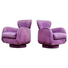 Pair of Valdimir Kagan for Directional Large Swivel Lounge Chairs