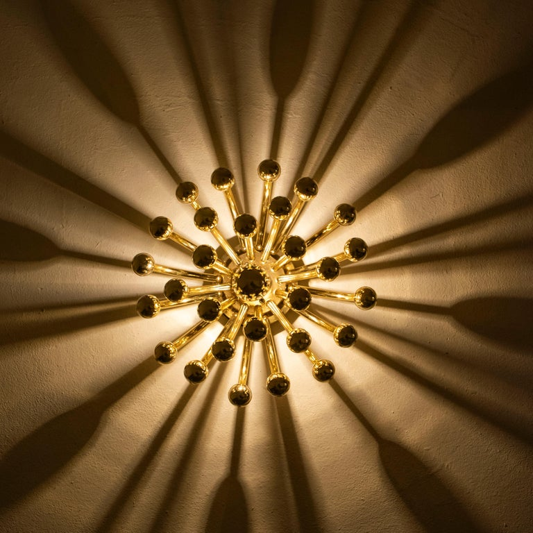 Gold Pair of Valenti Luce Pistillino Wall Lights, Italy, 1970 For Sale