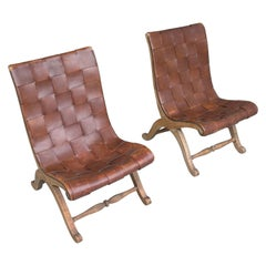 Pair of Valenti Midcentury Cognac Patina Leather Strap Slipper Lounge Chairs