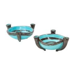 Pair of Vallauris Blue Ceramic Candelabra Cups, France, circa 1955