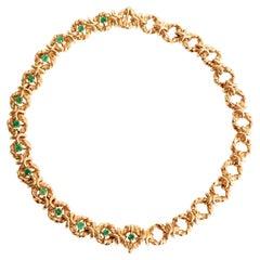 Pair of Van Cleef & Arpels Bracelets Forming Necklace 18 Karat Gold Emeralds