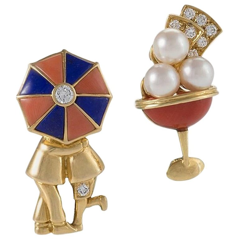 Pair of Van Cleef & Arpels Paris Diamond Pearl Enamel and Gold Brooches For Sale