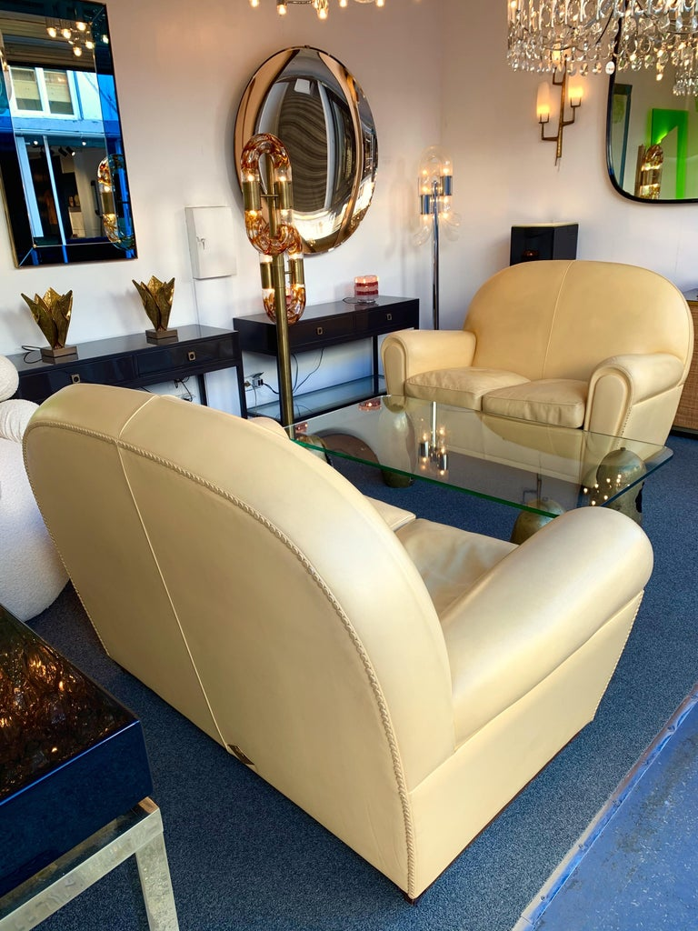 Pair of Vanity Fair Leather Sofa by Poltrona Frau, Italy, 1980s For Sale 8