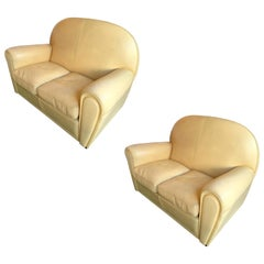 Pair of Vanity Fair Leather Sofa by Poltrona Frau, Italy, 1980s