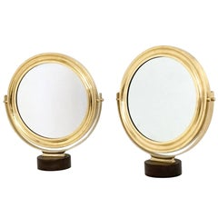 Pair of Vanity Mirrors by Sergio Mazza with a Brass Frame, Italy, 1960s