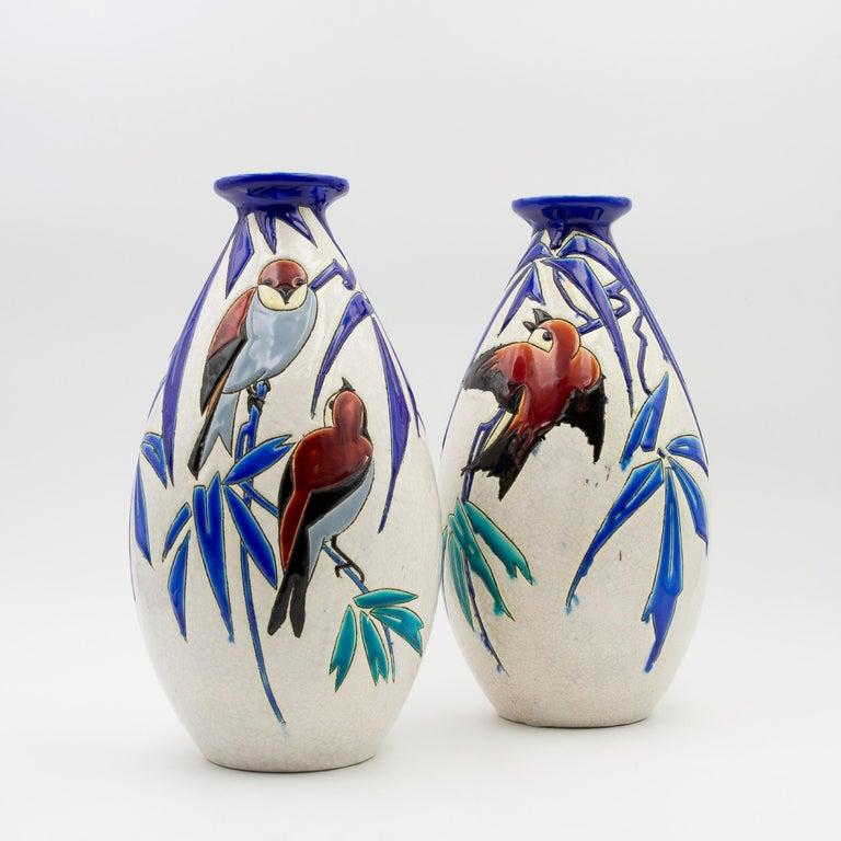 Art Deco Pair of 'Vase Aux Hirondelles' by Charles Catteau for Bock Keramis Vases For Sale